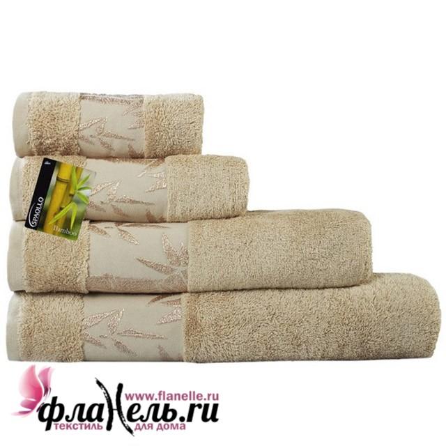 Махровое полотенце Ecotex Бамбук Классик бежевое 70х130 см