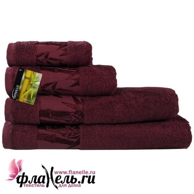 Махровое полотенце Ecotex Бамбук Классик бордовое 40х70 см