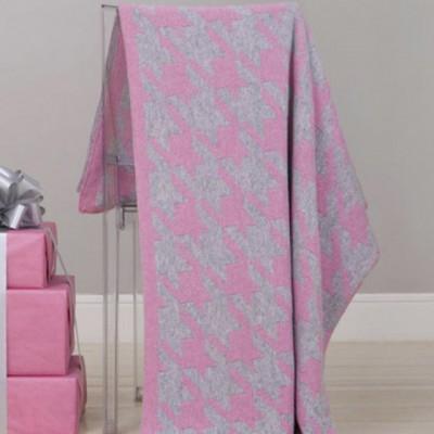 Плед Luxberry Goose Foot розовый/серый