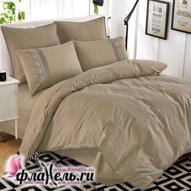 Комплект постельного белья Cleo Cotton Lace 009-LE из однотонного сатина