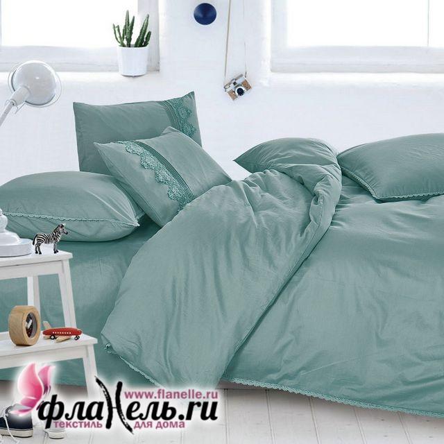 Комплект постельного белья Cleo Cotton Lace 011-LE из однотонного сатина