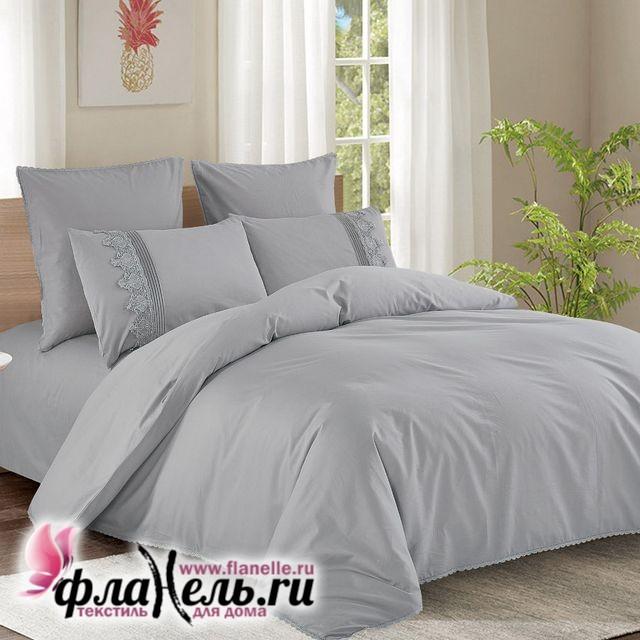Комплект постельного белья Cleo Cotton Lace 012-LE из однотонного сатина