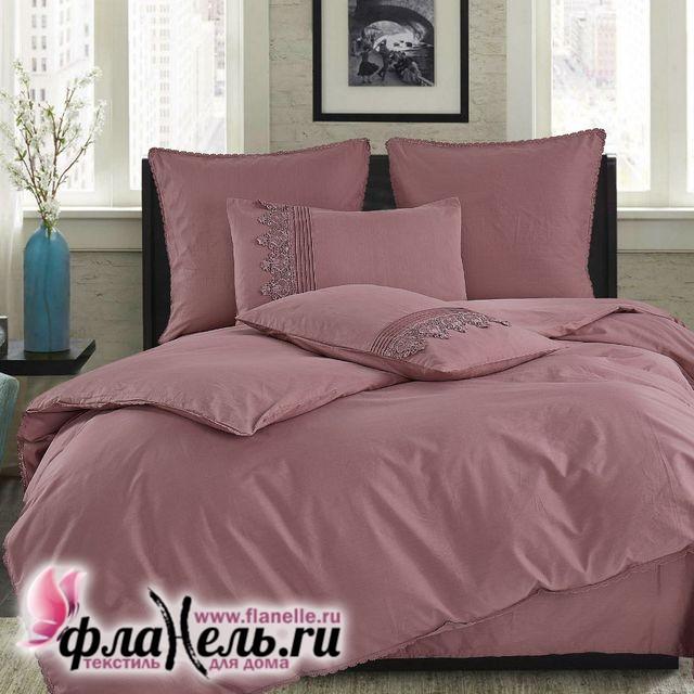 Комплект постельного белья Cleo Cotton Lace 014-LE из однотонного сатина