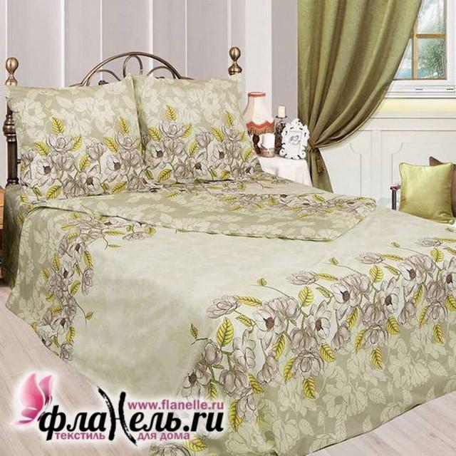 Комплект постельного белья с простыней на резинке Sova&Javoronok бязь Авокадо